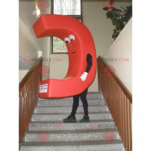 Mascot in the shape of a letter C. C red capital letter -
