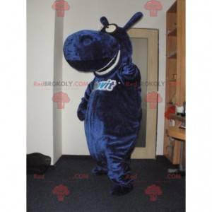 Gigantische en grappige blauwe nijlpaardmascotte -