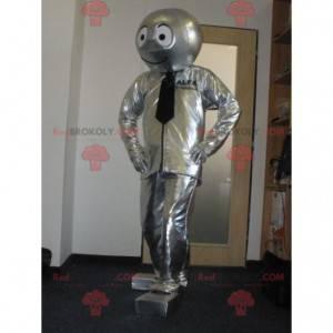 Srebrna maskotka bałwana robota - Redbrokoly.com