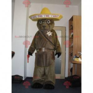 Brown marmot bear mascot in cowboy outfit - Redbrokoly.com