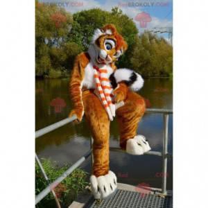 Maskot roztomilý oranžový bílý a černý tygr - Redbrokoly.com