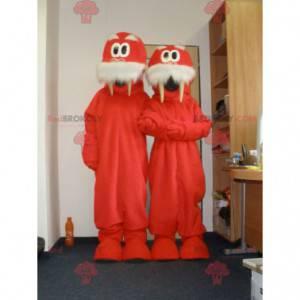 2 mascotes de morsas vermelhas e brancas. 2 morsas -