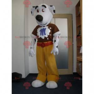 Maskot bílý a černý pes. Dalmatin maskot - Redbrokoly.com