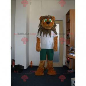Braunes und beige Löwenmaskottchen mit grünen Augen -