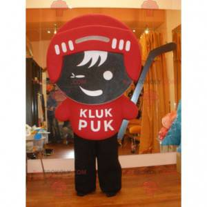 Hockey player mascot in red and brown outfit - Redbrokoly.com