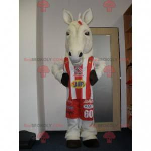 Sehr realistisches weißes Pferdemaskottchen in Sportbekleidung