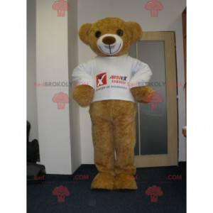 Velmi usměvavý maskot béžového medvídka - Redbrokoly.com