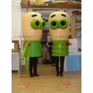 2 maskoti béžových a zelených cibulovin. 2 žárovky -