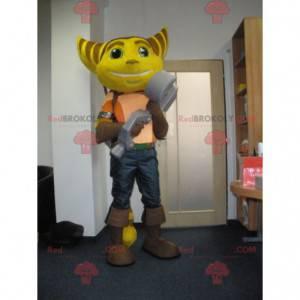 Ratchet maskot žluté a hnědé kočičí videohry - Redbrokoly.com