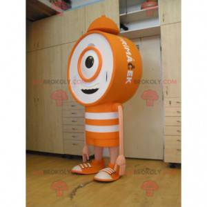 Orange und weiß Riesenuhr Alarm Alarm Maskottchen -