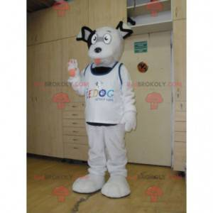 Funny and hairy sweet white and black dog mascot -