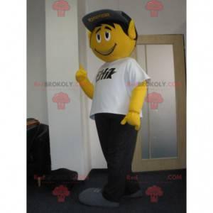Mascote do boneco de neve amarelo muito sorridente com um boné