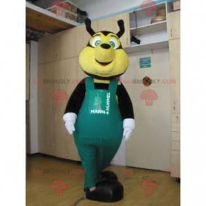Černá a žlutá včelí maskot se zeleným overalem - Redbrokoly.com
