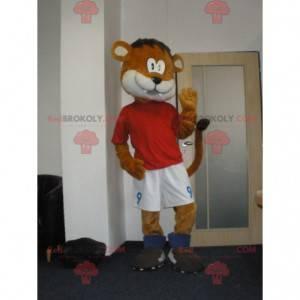 Oranžový a bílý tygr maskot ve sportovním oblečení -