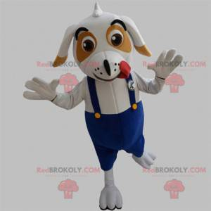 White and brown dog mascot with overalls - Redbrokoly.com