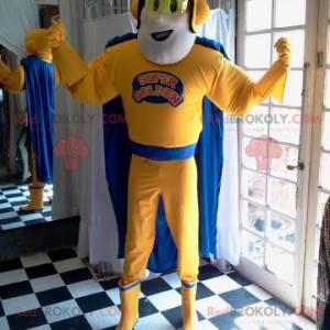 Maskotka superbohatera w żółtym i niebieskim stroju -