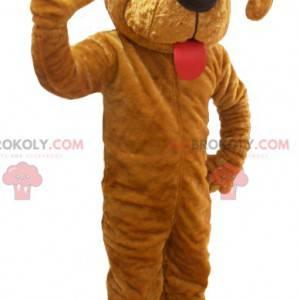 Giant brown dog mascot with a big tongue - Redbrokoly.com
