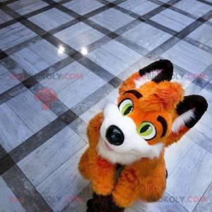 Orange Fuchs Maskottchen weiß und schwarz - Redbrokoly.com