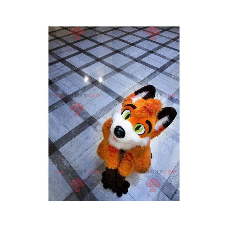 Oranžová liška maskot bílá a černá - Redbrokoly.com