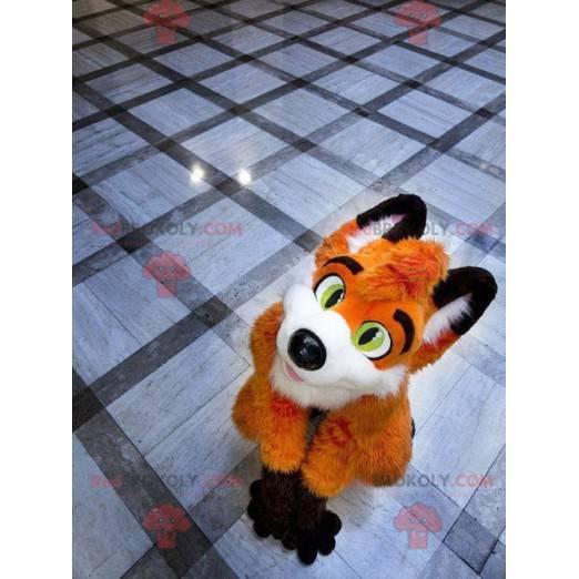 Orange fox mascot white and black - Redbrokoly.com