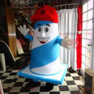 Blå og hvit gigantisk studsmaskot med hette - Redbrokoly.com