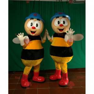 2 arbeiderbi-maskoter med hjelm - Redbrokoly.com