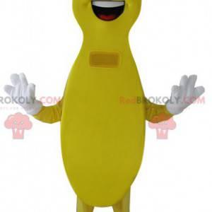 Lanky žlutý sněhulák maskot s úsměvem - Redbrokoly.com