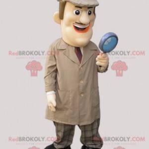 Soukromý detektiv maskot oblečený v dlouhém kabátě -
