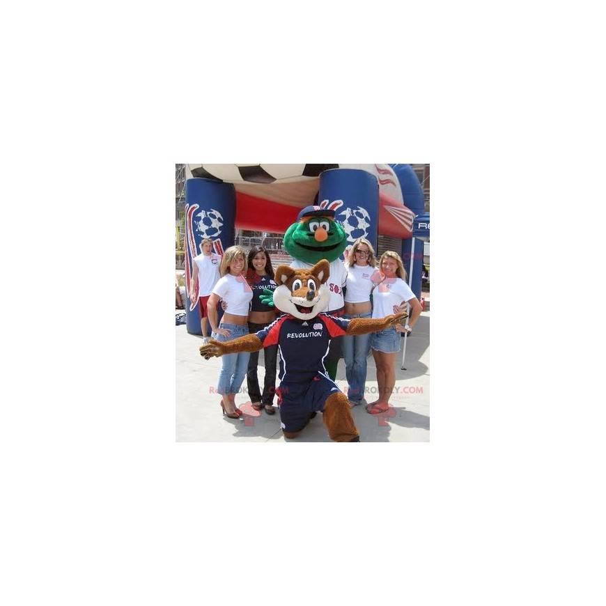 Maskot oranžová a bílá liška a zelený muž - Redbrokoly.com