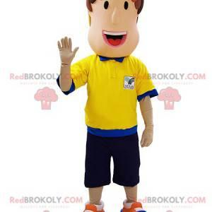Schiedsrichter Mann Maskottchen mit einem blauen und gelben