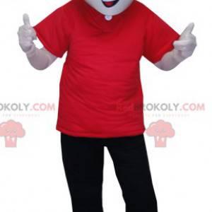 Maskotmann kledd i rødt og svart med briller - Redbrokoly.com