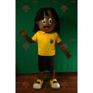 Africký americký chlapec maskot. Rasta maskot - Redbrokoly.com