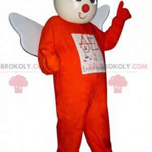 Engelsmaskottchen im orangefarbenen Outfit mit weißen Flügeln -