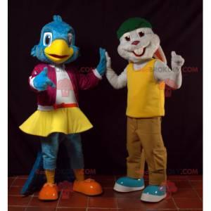 2 maskoti modrý pták a šedý králík - Redbrokoly.com