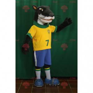Černá a bílá fretka pes maskot ve sportovním oblečení -