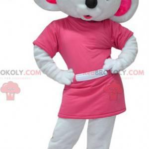 Zeer vrouwelijke witte en roze koala-mascotte - Redbrokoly.com