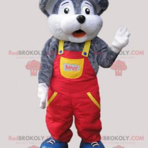 Szaro-biała mysz maskotka ubrana w kombinezon - Redbrokoly.com