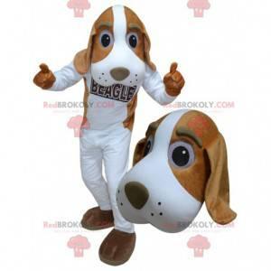 Obří bílý a hnědý pes maskot - Redbrokoly.com
