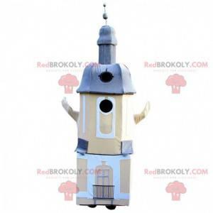Beige und blaues Denkmal Kirche Leuchtturm Maskottchen -