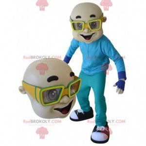 Bald man maskot med gule briller - Redbrokoly.com