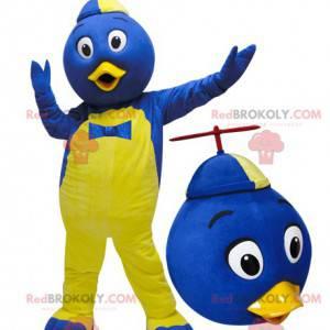 Modré a žluté ptačí maskot s kloboukem - Redbrokoly.com