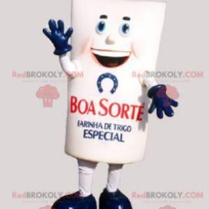 Gigantyczna biała i niebieska maskotka opakowanie mąki -