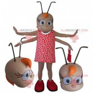 Kvinnelig insektmaskot med 4 armer med antenner - Redbrokoly.com