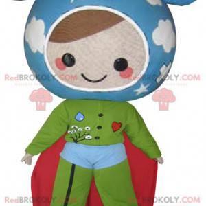 Maskot panenky v barvách Země. Super hrdina - Redbrokoly.com