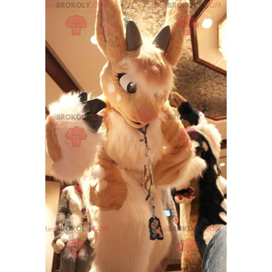 Mascot pretty beige and white rabbit - Redbrokoly.com