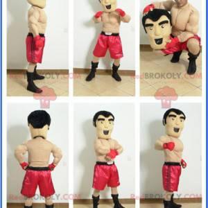 Shirtless boxer mascot with red shorts - Redbrokoly.com