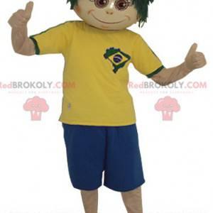 Chłopiec maskotka z zieloną peruką - Redbrokoly.com