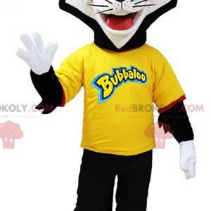 Černá a bílá kočka maskot s brýlemi - Redbrokoly.com