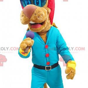 Lion maskot rocker s červenými vlasy - Redbrokoly.com