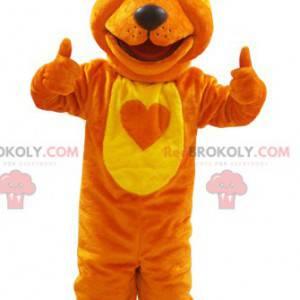 Soft and hairy orange and yellow fox wolf mascot -